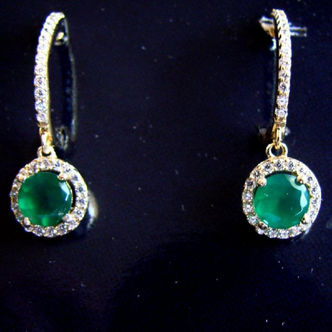 Creation Diamond-Emerald Earring 1.95Ct 18k Y/g Overlay