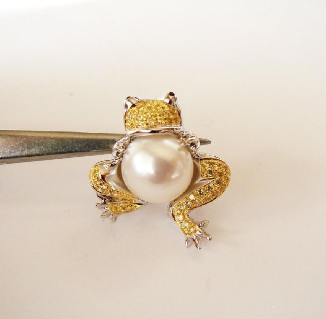 Culture Pearl Creation Diamond .52ct 18k W-Y/g Overlay