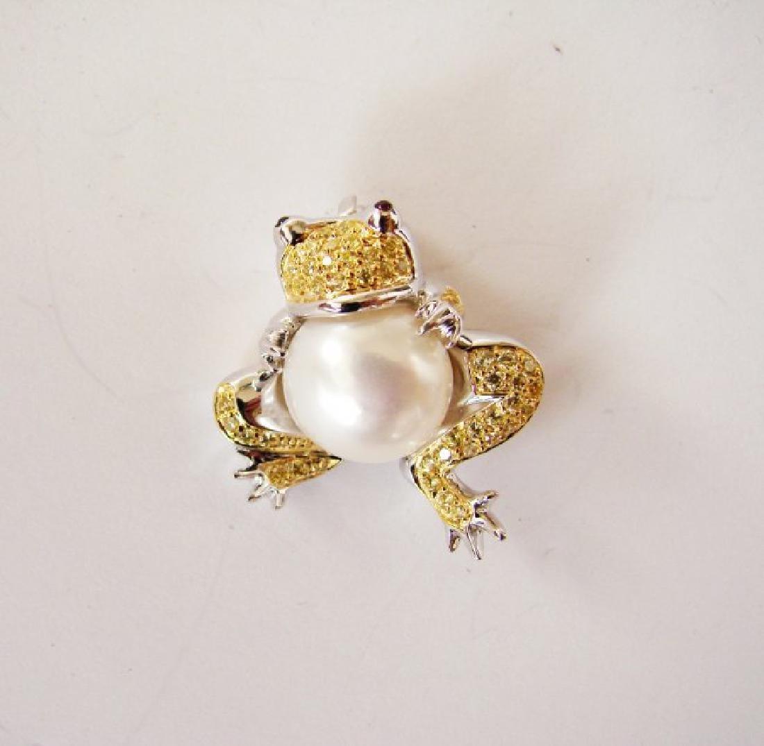 Culture Pearl Creation Diamond .52ct 18k W-Y/g Overlay - 2