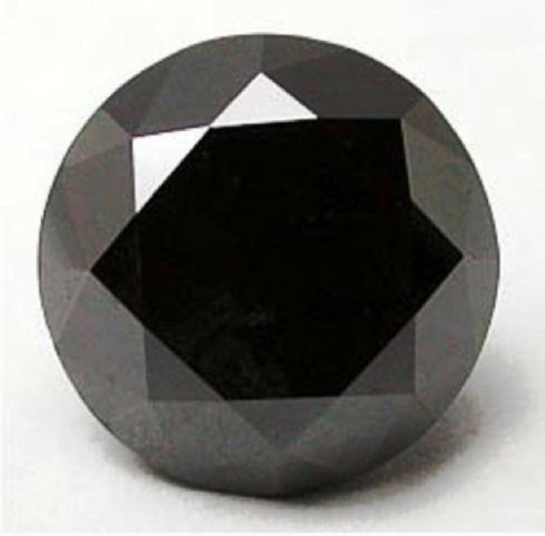 Natural Black Diamond Round Shape 3.14Ct 10x5.3 mv