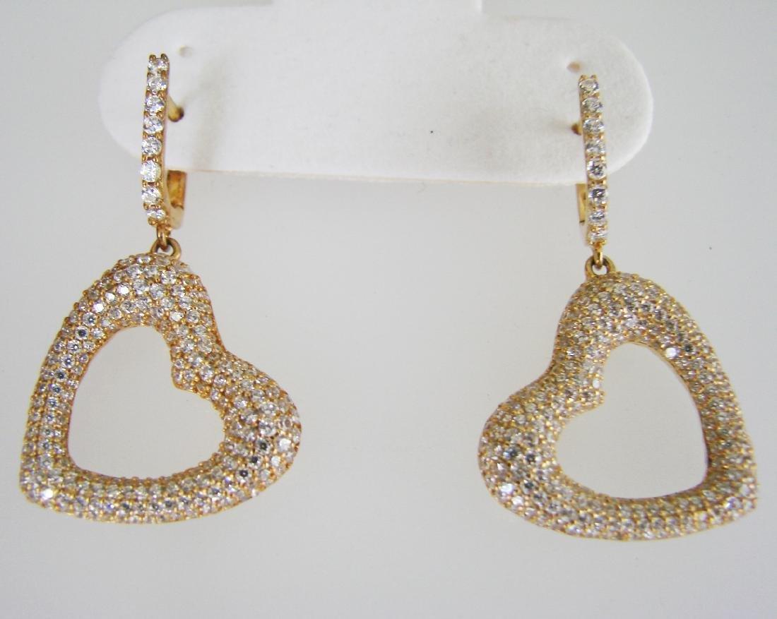 Creation Diamond Earrings 2.48Ct 18k Y/g Overlay
