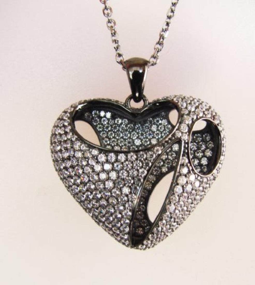Creation Diamond Heart Pendant 2.40Ct 18k B/g Ovelay