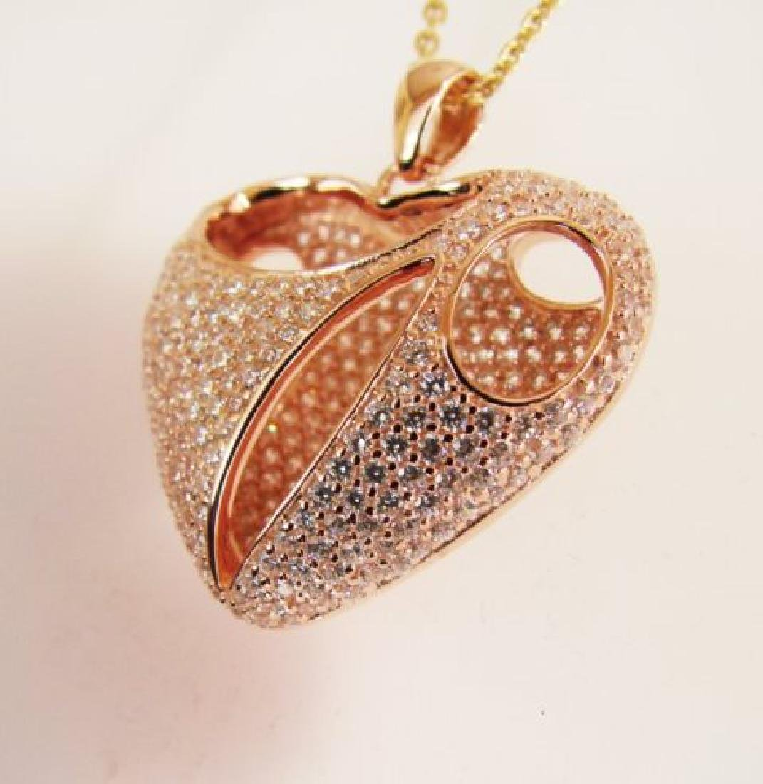 Creation Diamond Heart Pendant 2.40Ct 18k R/g Overlay - 2