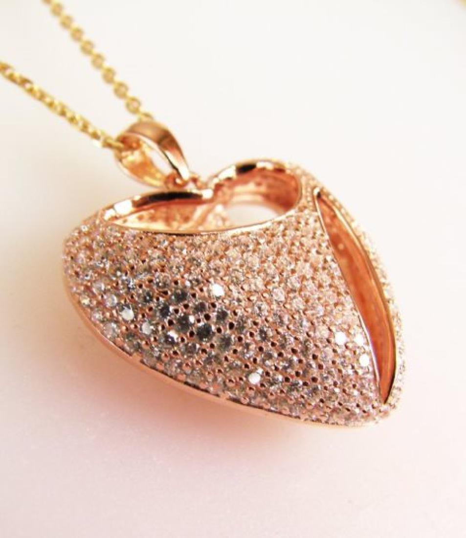 Creation Diamond Heart Pendant 2.40Ct 18k R/g Overlay - 3
