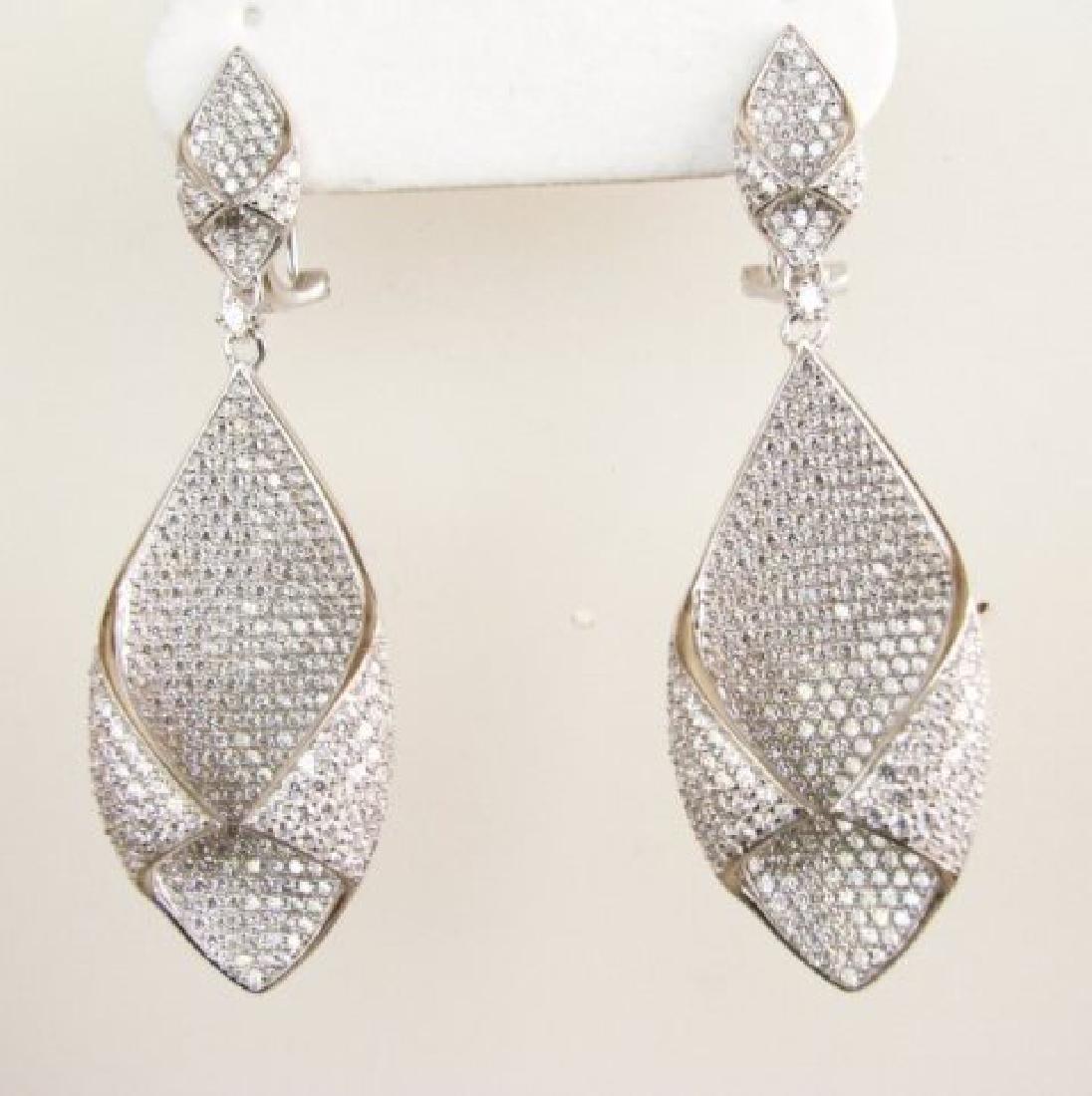 Creation Diamond Chandeliers Ear 5.24Ct 18k W/g Overlay