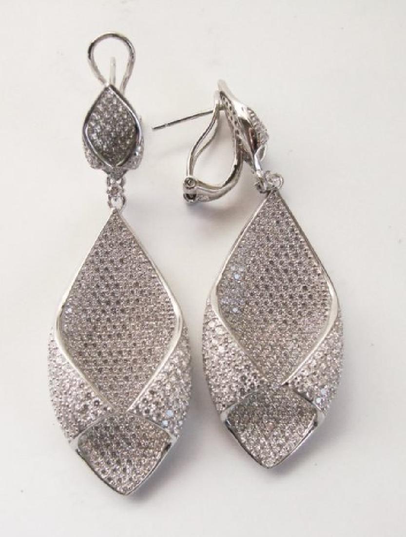 Creation Diamond Chandeliers Ear 5.24Ct 18k W/g Overlay - 2