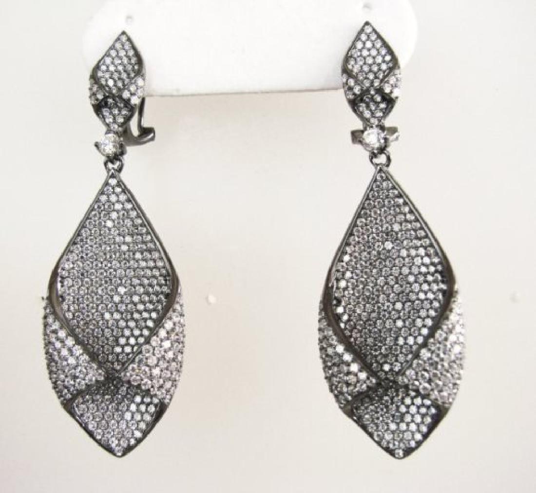 Creation Diamond Chandeliers Ear 5.24Ct 18k B/g Overlay