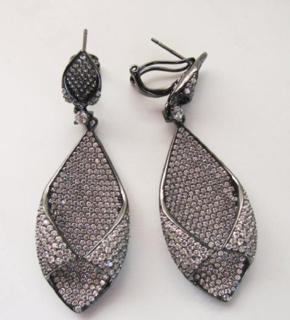 Creation Diamond Chandeliers Ear 5.24Ct 18k B/g Overlay - 2