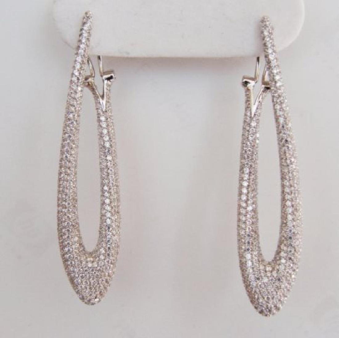 Creation Diamond Chandeliers Ear 4.85Ct 18k W/g Overlay