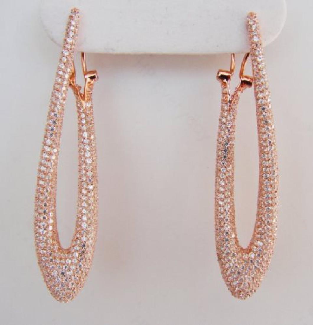 Creation Diamond Chandeliers Ear 4.85Ct 18k R/g Overlay