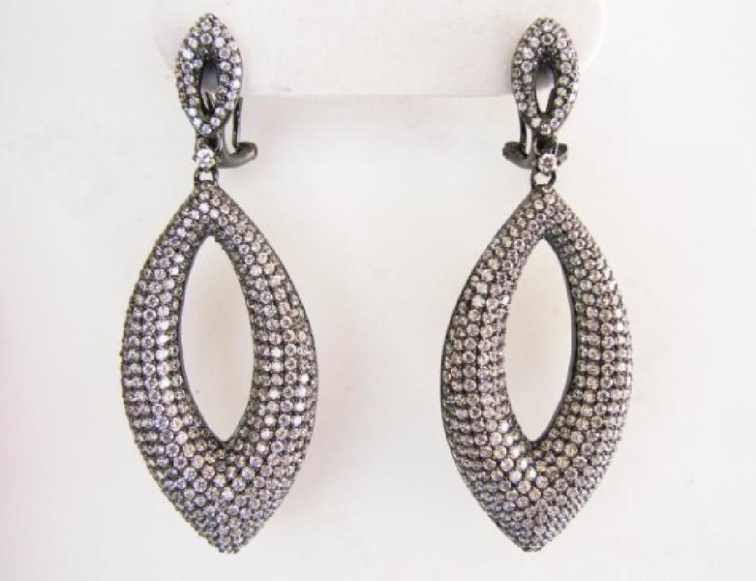 Creation Diamond Chandeliers Ear 5.90Ct 18k B/g Overlay