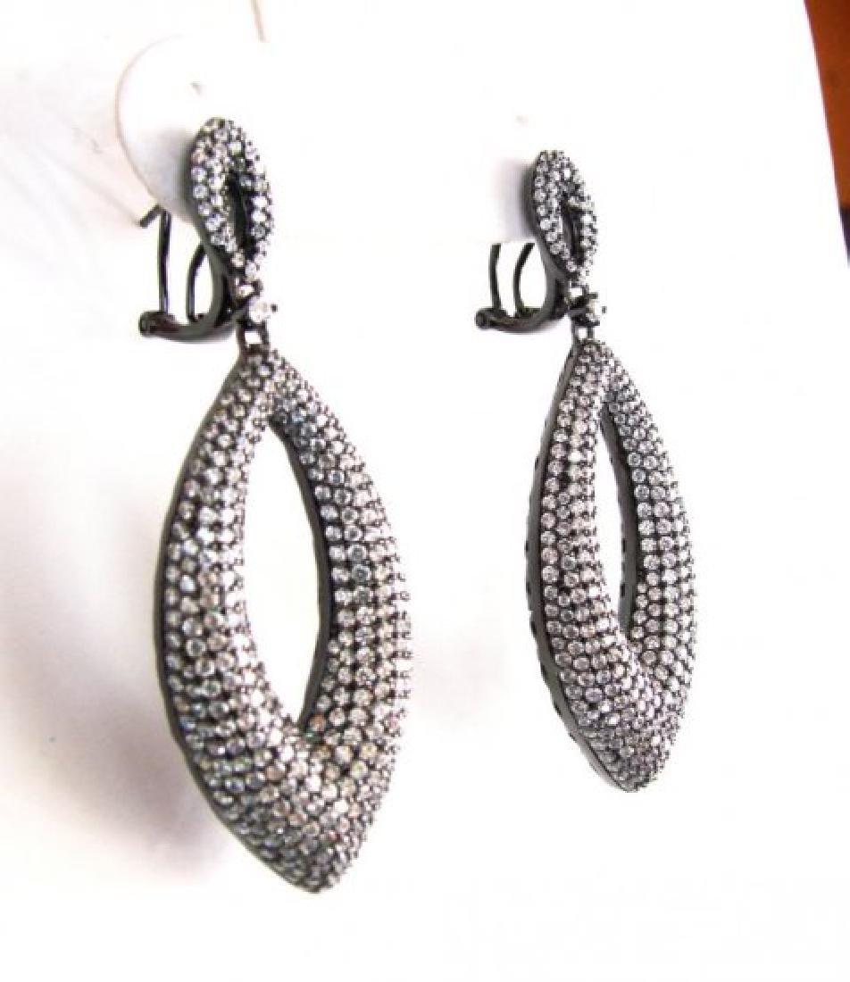 Creation Diamond Chandeliers Ear 5.90Ct 18k B/g Overlay - 2