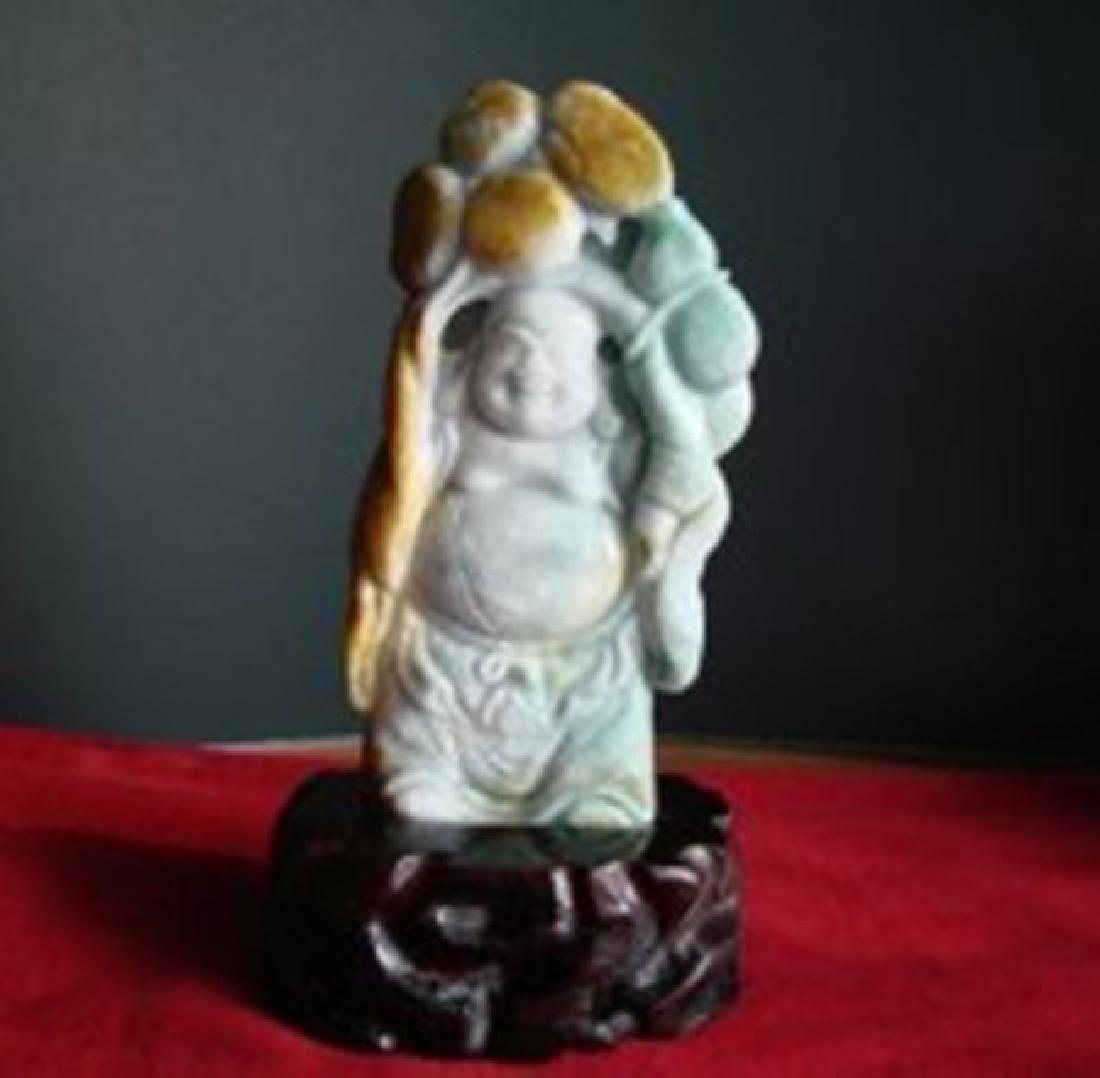 Natural Chinese Carved Jade Buddha Grade A - 2