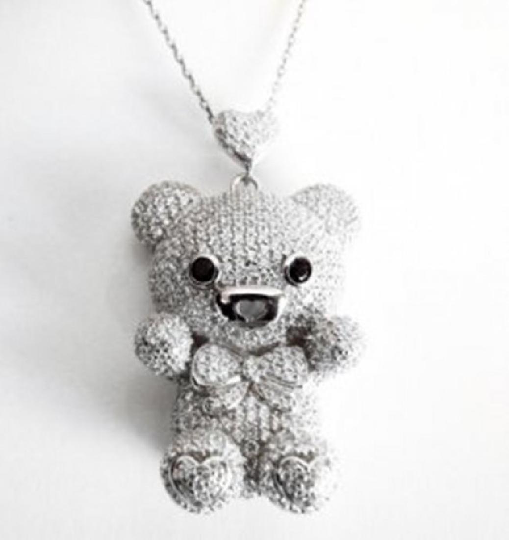 Bear Pendant Creation Diamond 5.95Ct 18k W/g Overlay