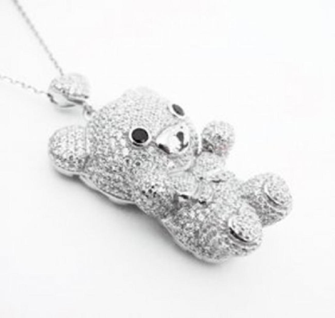 Bear Pendant Creation Diamond 5.95Ct 18k W/g Overlay - 2