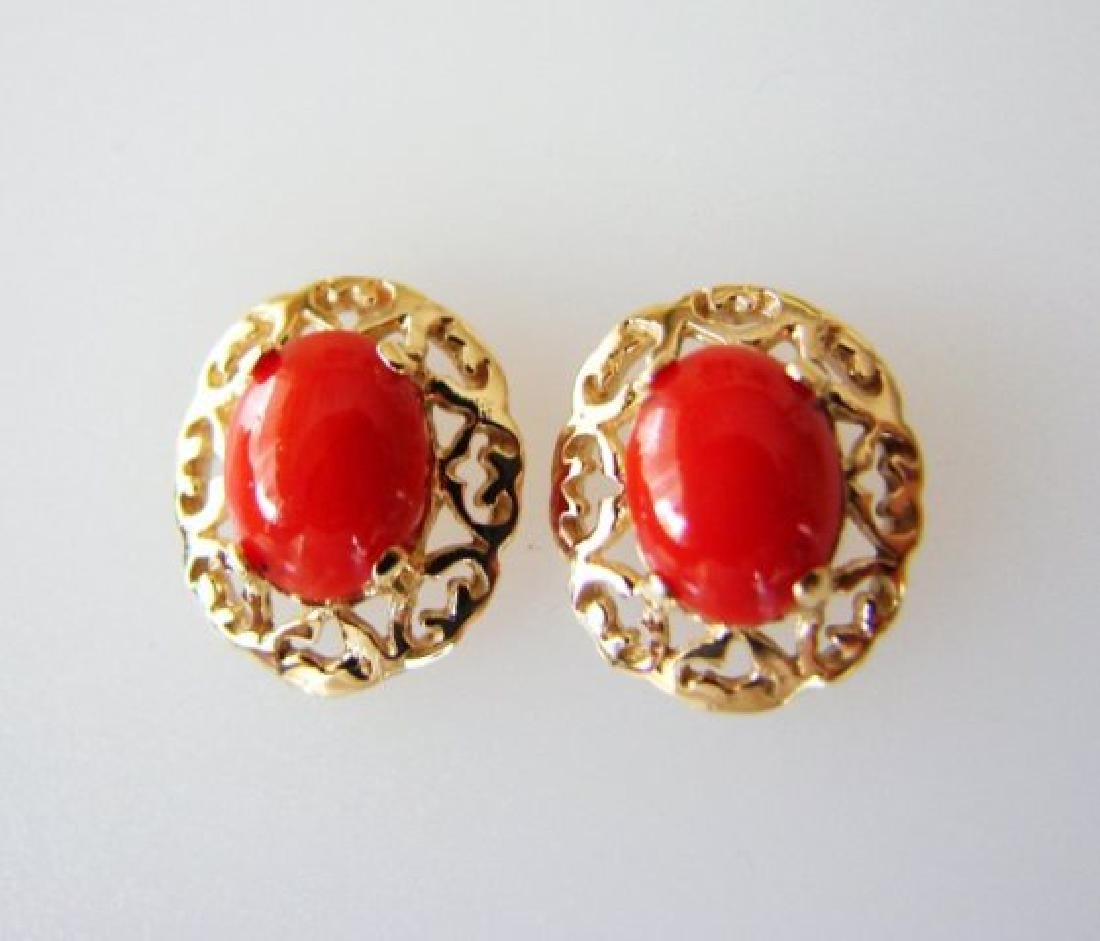 Natural Red Coral Earrings 2.09Ct 14k Y/G