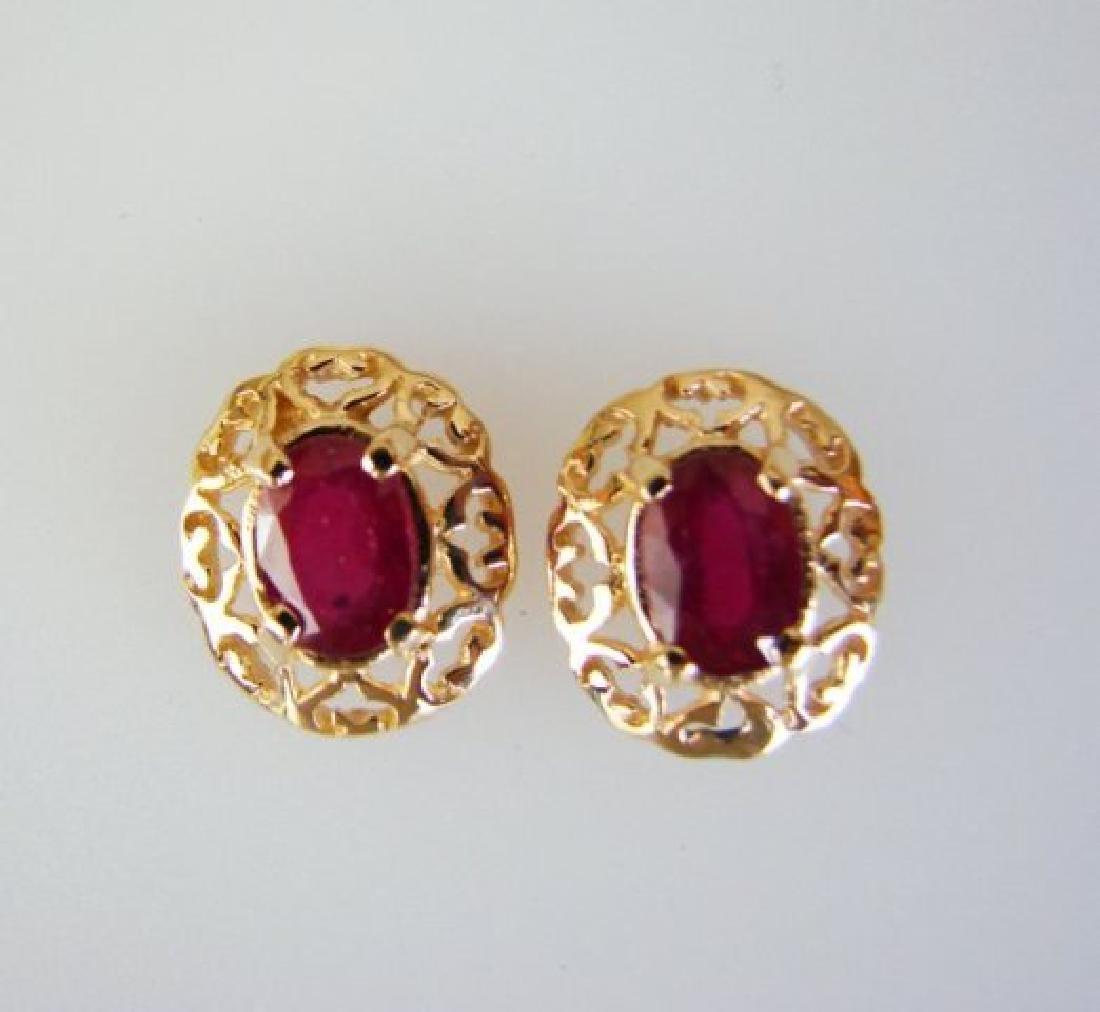 Natural Ruby Earrings 2.47Ct 14k Y/G