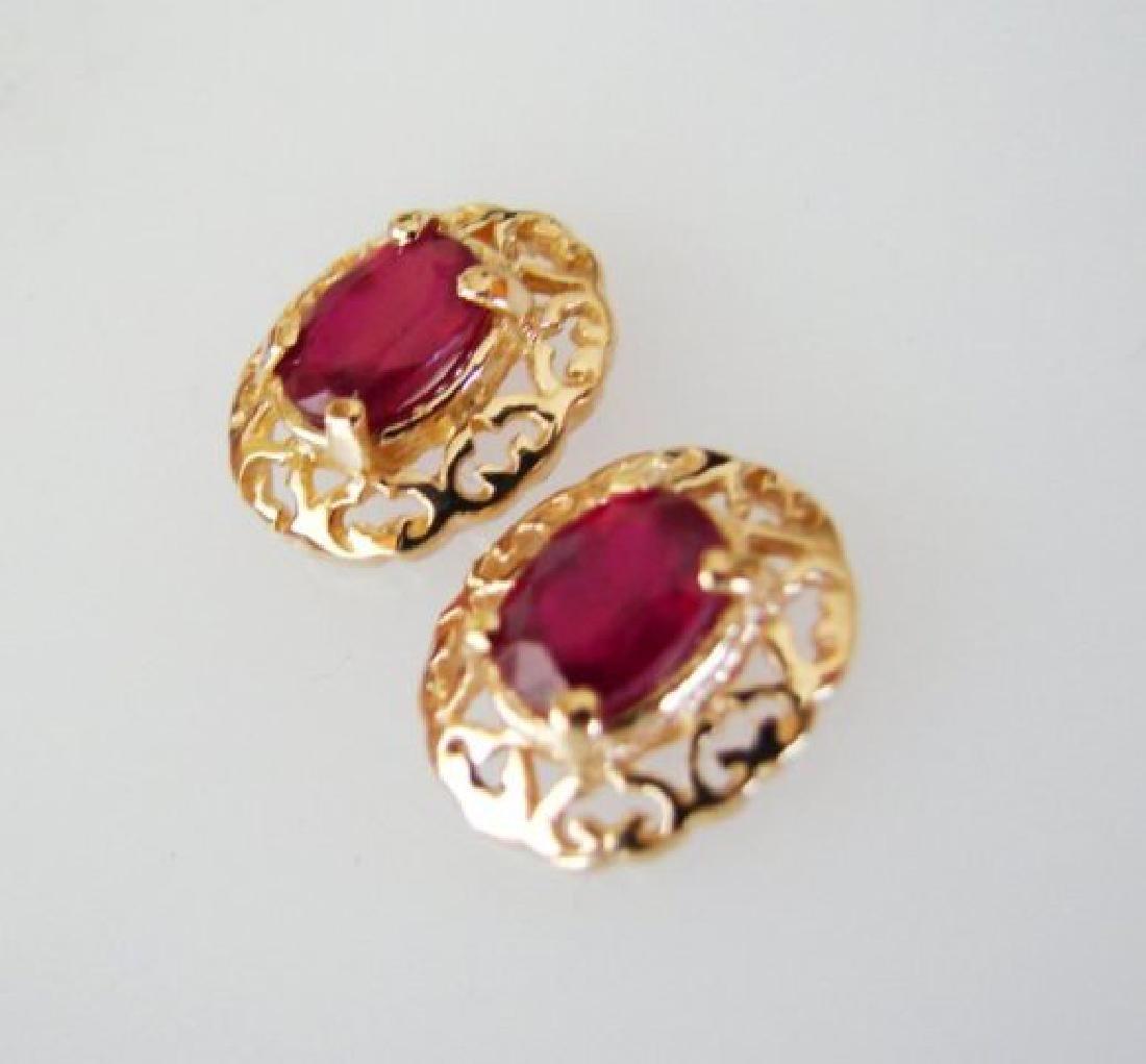 Natural Ruby Earrings 2.47Ct 14k Y/G - 2