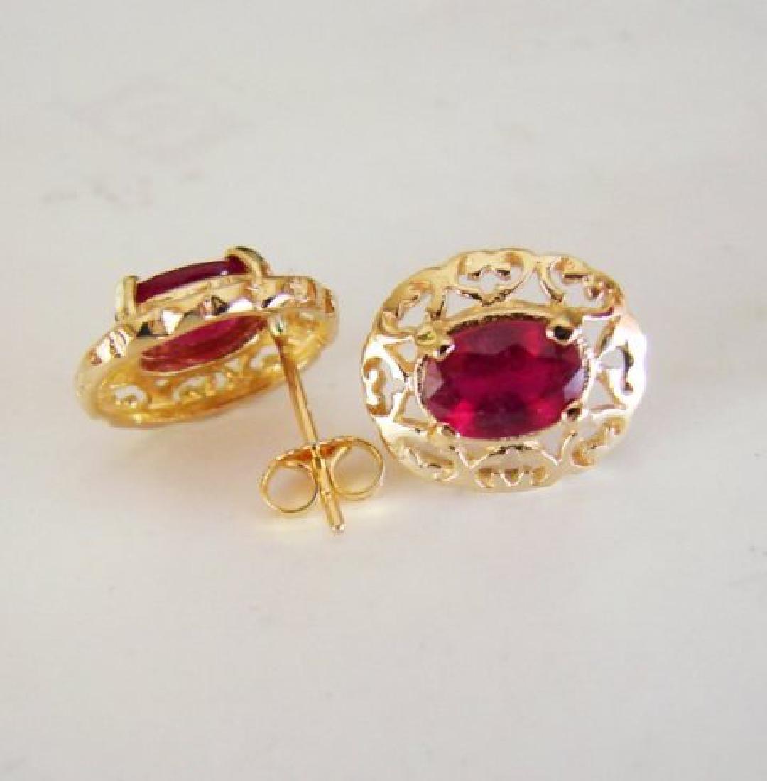 Natural Ruby Earrings 2.47Ct 14k Y/G - 4