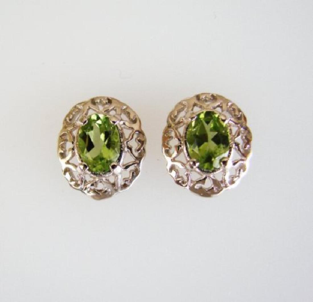 Natural Peridot Earrings 2.47Ct 14k W/G