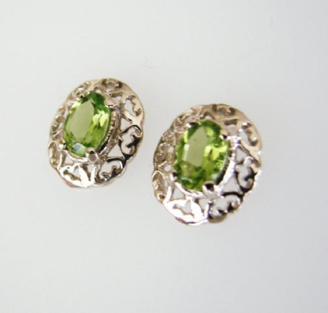 Natural Peridot Earrings 2.47Ct 14k W/G - 2