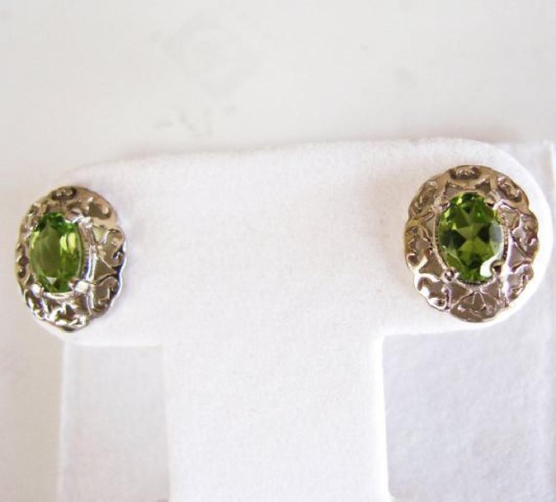 Natural Peridot Earrings 2.47Ct 14k W/G - 3