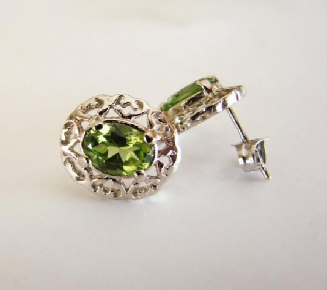 Natural Peridot Earrings 2.47Ct 14k W/G - 4