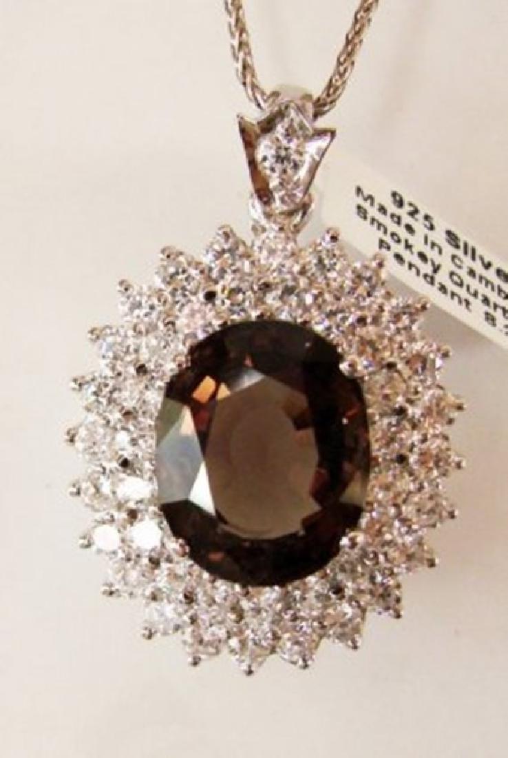 Smoky,Creation Diamond Pendant 9.41Ct 18k W/g Overlay