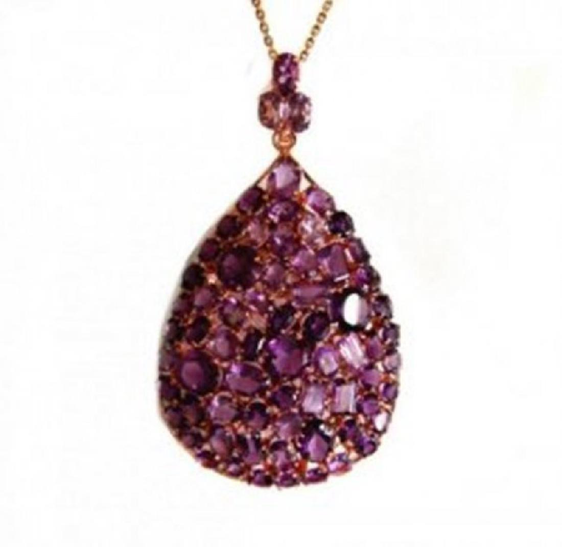 Natural Amethyst Pendant 58.12Ct 18k Y/G Overlay