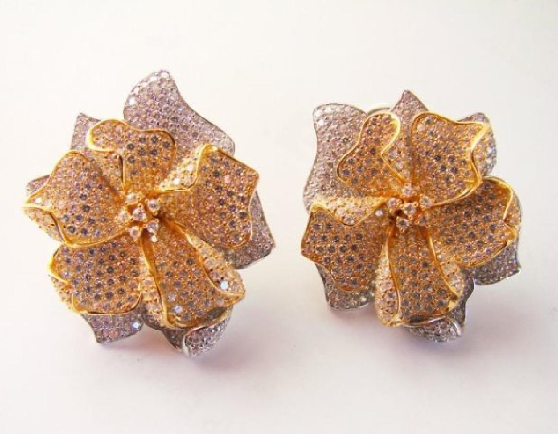 Creation Diamond Earring 9.60Ct 18k W-y/g Overlay