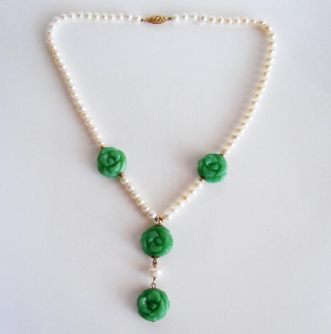 Natural Jadeite Jade Pear Necklace 18k Y/g Filled - 2