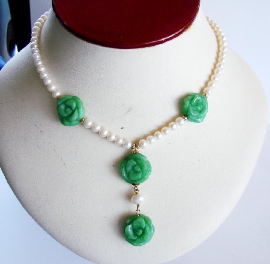 Natural Jadeite Jade Pear Necklace 18k Y/g Filled - 3