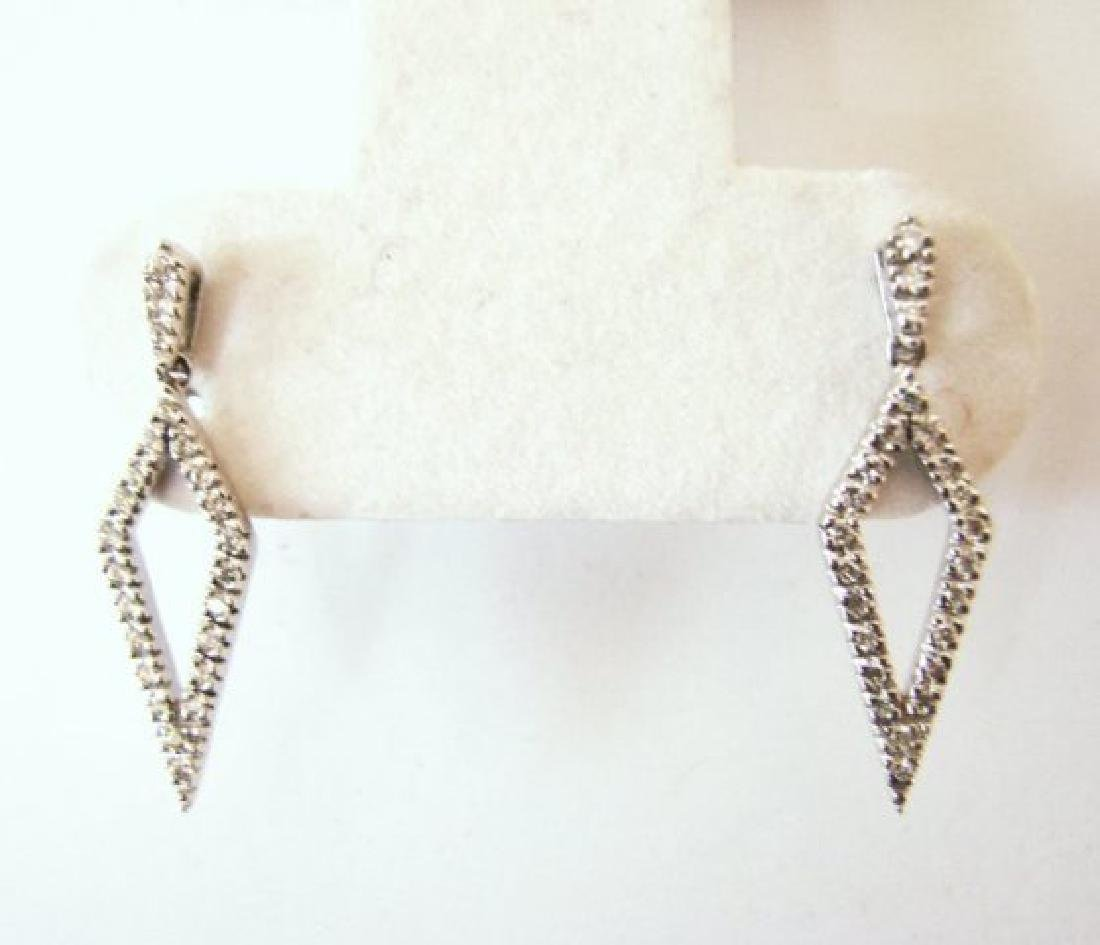 Diamond Earrings Dangle .46 Carat 14k W/g - 2