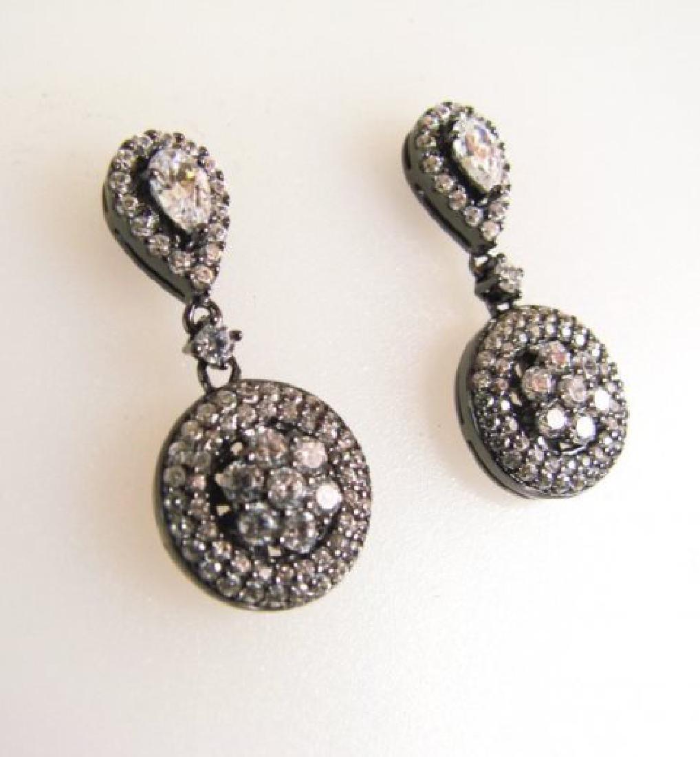 Creation Diamond Earring 2.00Ct 18k B/g Overlay - 2