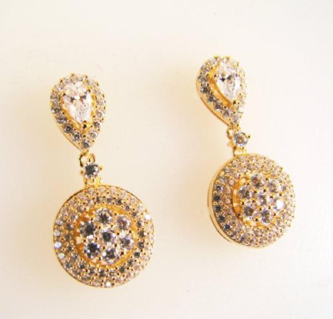 Ceartion Diamond Earrings  2.00Ct 18k Y/g Overlay - 2