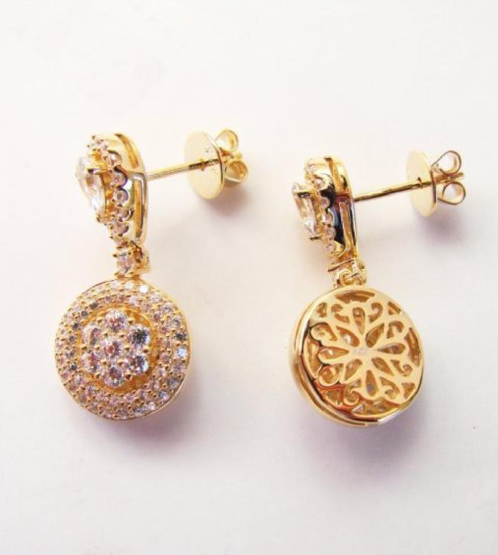 Ceartion Diamond Earrings  2.00Ct 18k Y/g Overlay - 3