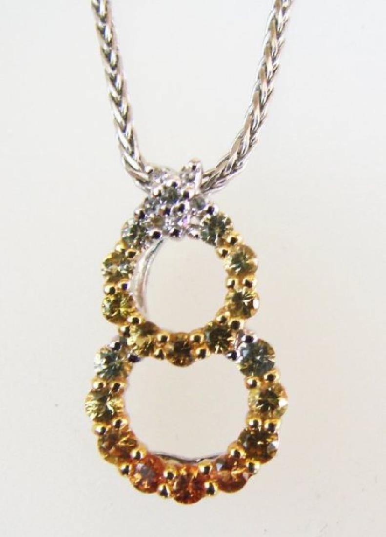 Sapphire Multi Color Diamond Pendant 1.06Ct 14k W/g