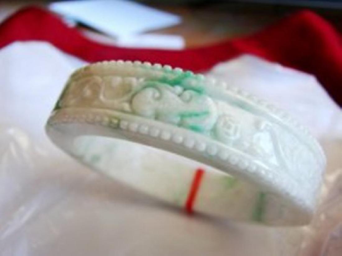 Natural Jadeite Jade Carved Bangle Grade A Size 7