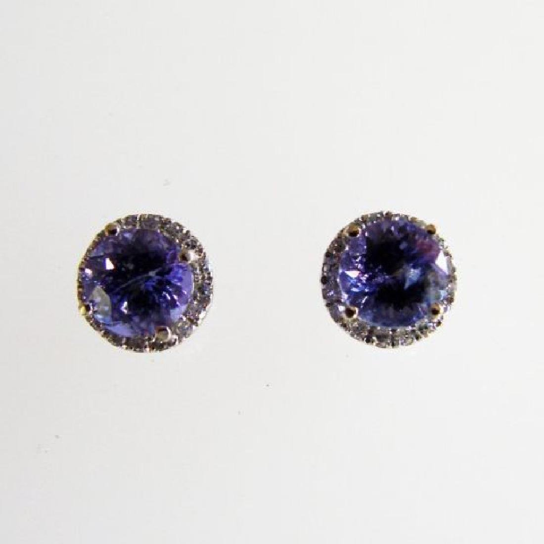 Diamonds Tanzanite Earring 1.84ct 14k W/G