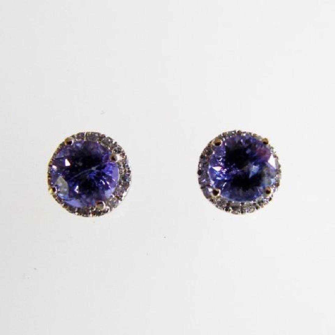 Diamonds Tanzanite Earring 1.84ct 14k W/G