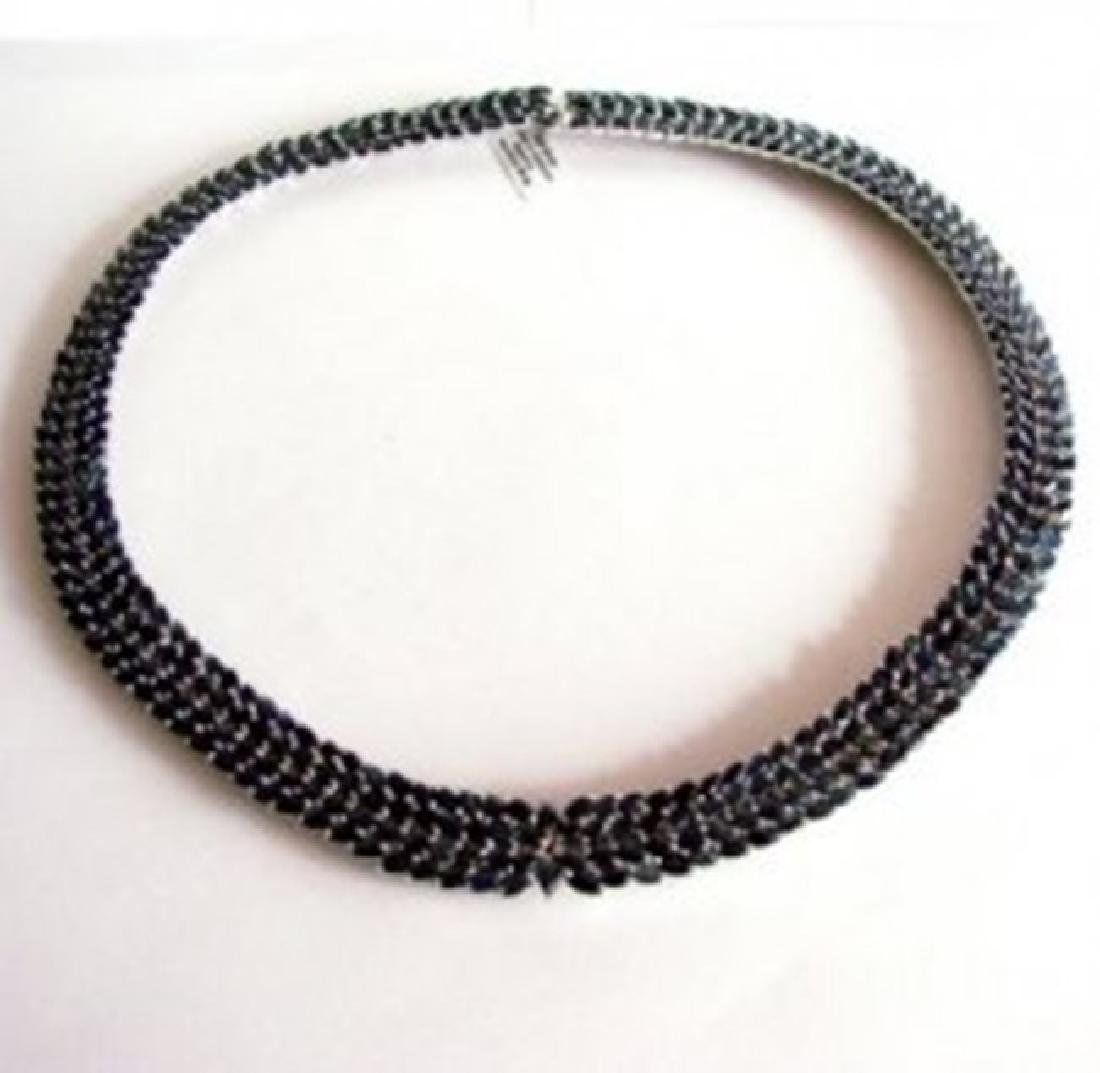 Natural Sapphire Necklace 72.30CT 18K W/G Overlay