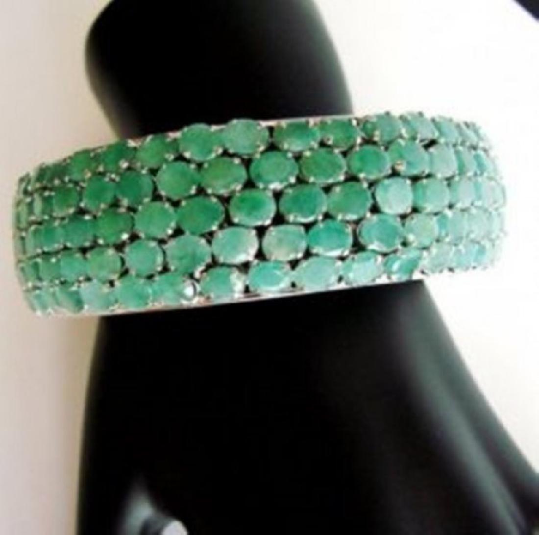 Natural Emerald Bangle 104.16Ct 18k W/g Overlay