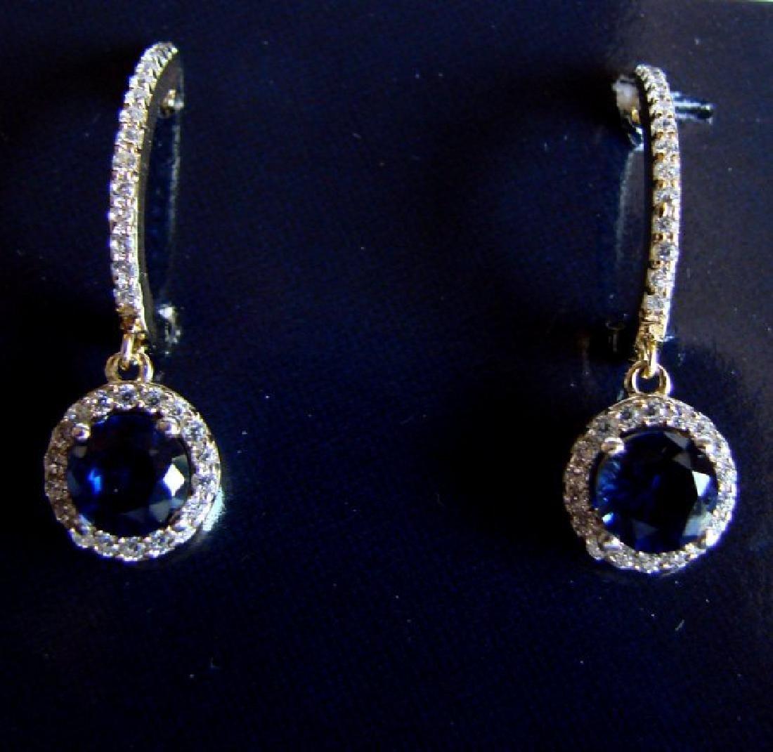 Creation Diamond-Sapphire Earring 2.81Ct18k Y/g Overlay