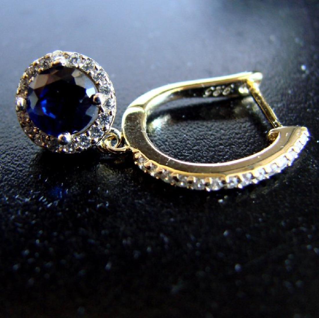 Creation Diamond-Sapphire Earring 2.81Ct18k Y/g Overlay - 2