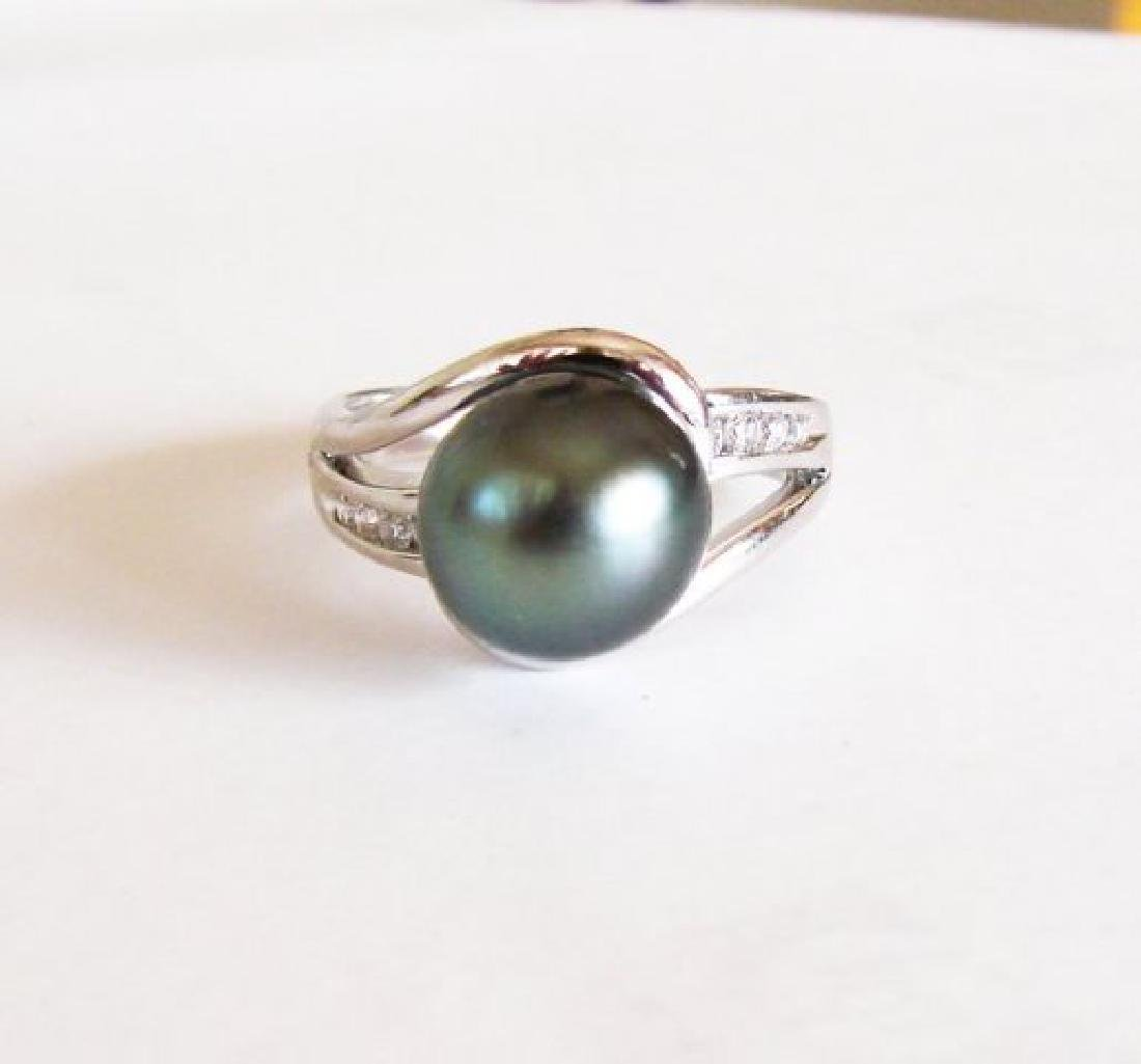 Tahitian Pearl 10 mm Diamonds Ring .20Ct 14k W/g - 2