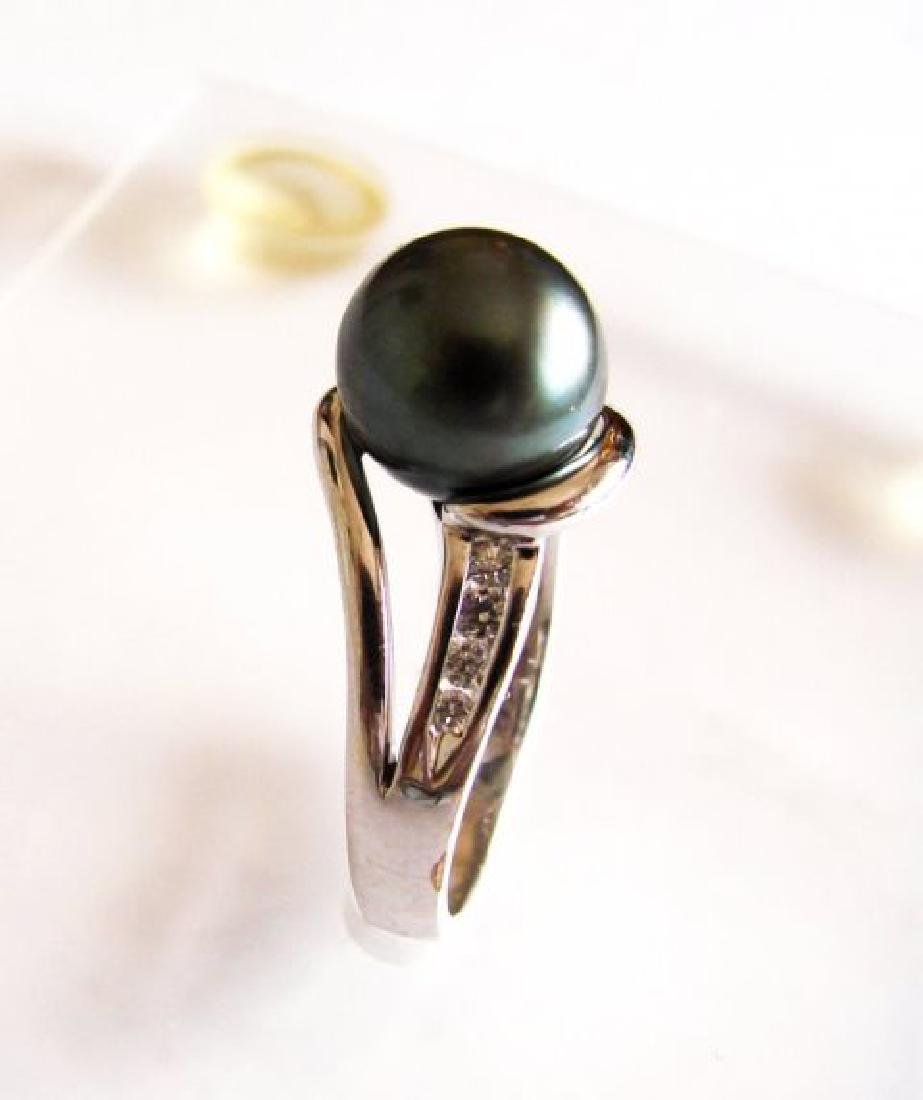 Tahitian Pearl 10 mm Diamonds Ring .20Ct 14k W/g - 3