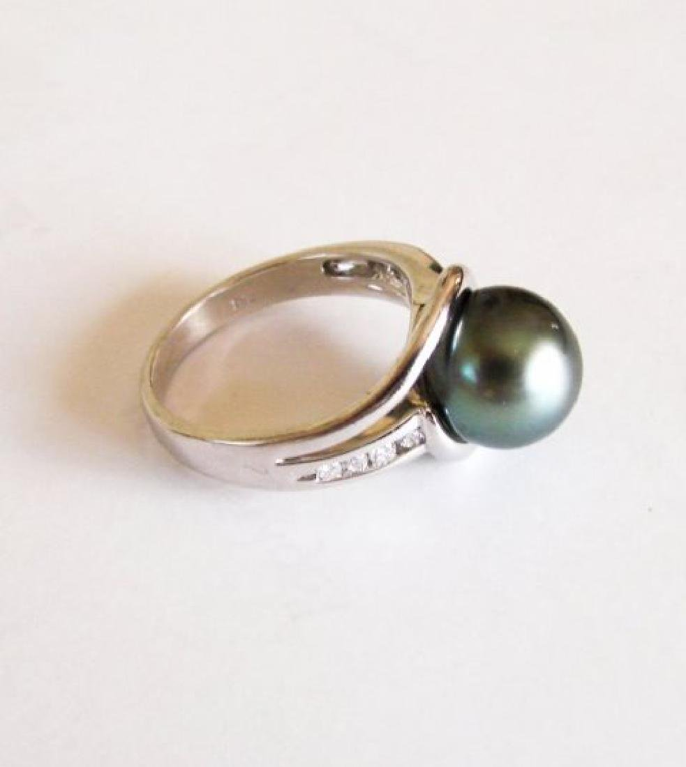 Tahitian Pearl 10 mm Diamonds Ring .20Ct 14k W/g - 4