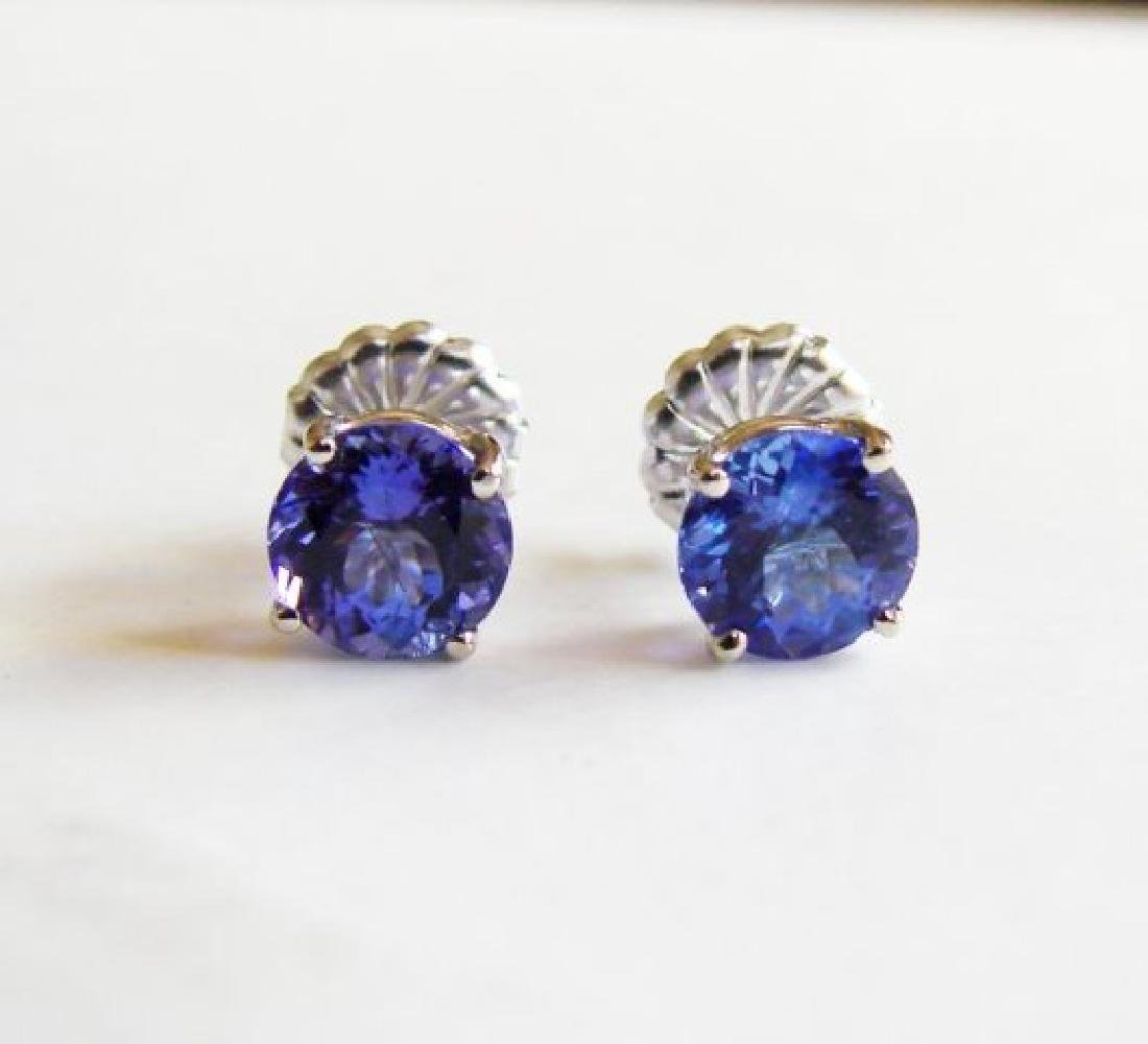 Natural Tanzanite Stud Earrings 2.29Ct 14k W/G