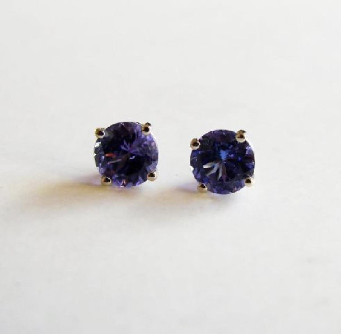 Natural Tanzanite Stud Earrings 1.45Ct 14k W/G