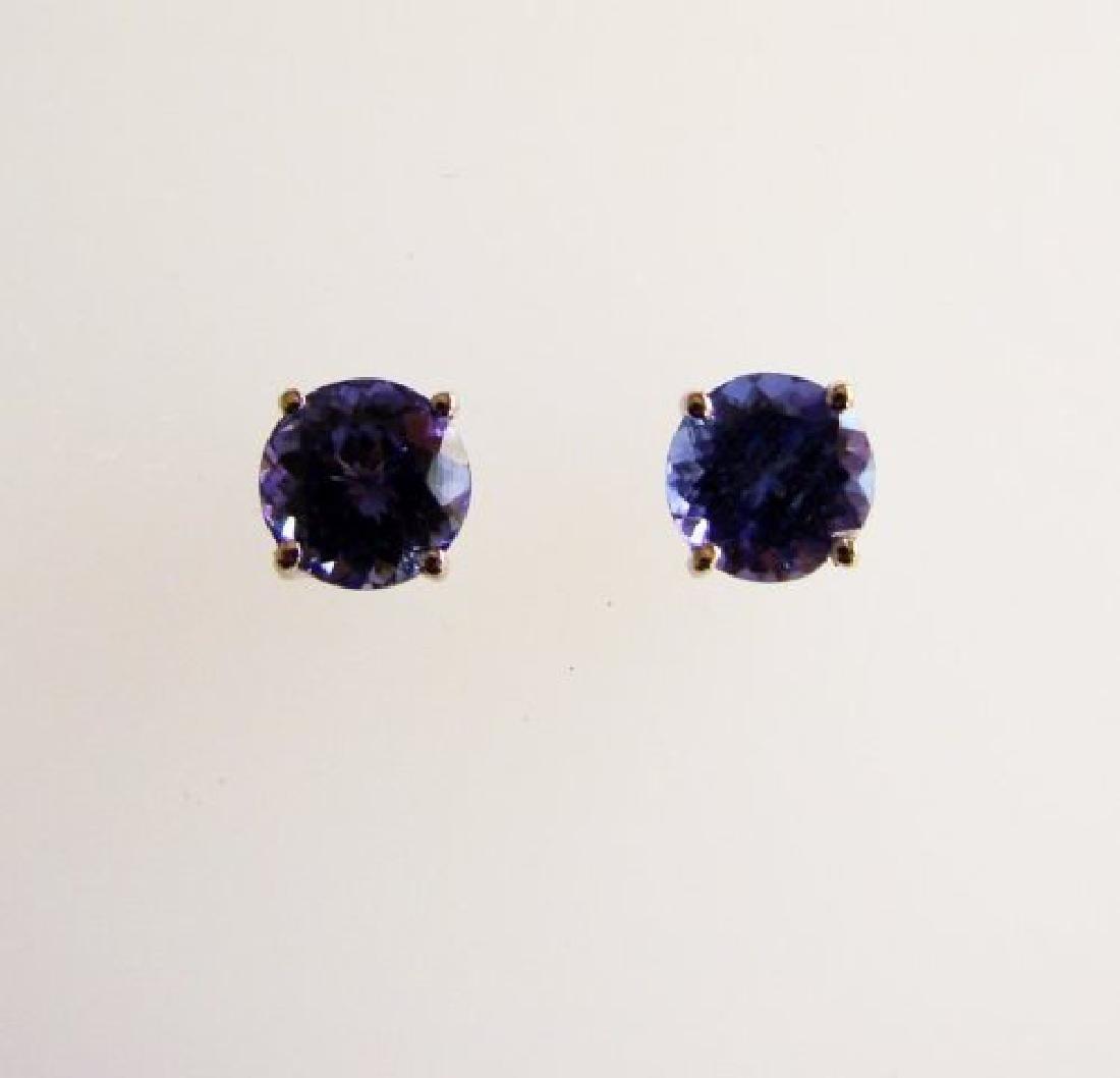 Natural Tanzanite Stud Earrings 1.45Ct 14k W/G - 2